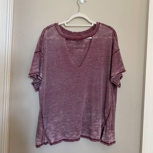 Purple Distressed V Neck Cut Out Shirt